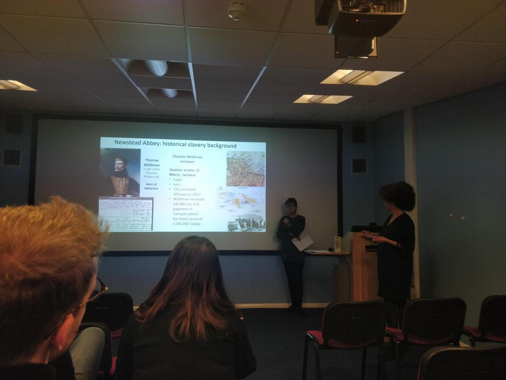 Workshops - Dr Susanne Seymour (Uni of Nottingham) with Lisa Robinson (Bright Ideas, Nottingham) reflecting on Slave legacies digital media work connected with Newstead Abbey