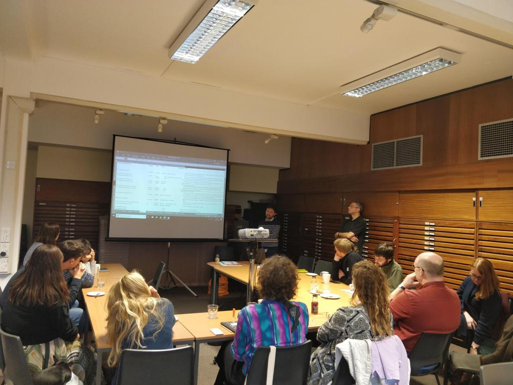 Workshops - Prof David Matless and Philip Jagessar (University of Nottingham) discussing the digitalisation of the School of Geography's Map archives